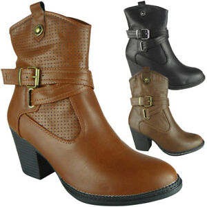 New Womens Ankle Heeled Boots Zip Buckle Ladies Fashion Casual Comfy Shoes Size