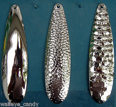 """12 Nickel Spoon Blanks Lake Erie Walleye Candy 3 1//4/"""" THIN .016 Hex THIN"""