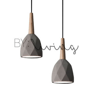 Modern contemporary minimal wood timber diamond concrete pendant image is loading modern contemporary minimal wood timber diamond concrete pendant mozeypictures Image collections