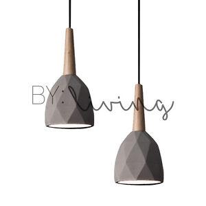 Details About Modern Contemporary Minimal Wood Timber Diamond Concrete  Pendant Light