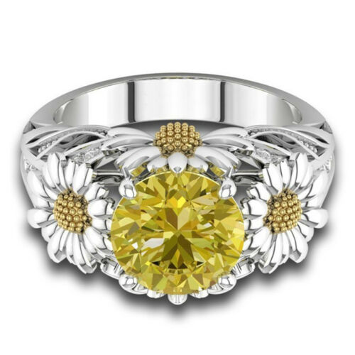 Citrine Daisy Flower Ring Round Cut Ring Wedding Engagement Gift Ring JewelryCN