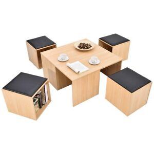 5-PCS-Wood-Living-Room-Table-Desk-Set-w-4-Storage-Ottoman-Stool-Seats-Chair-US