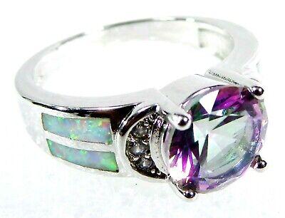 Silver 925 SF Size 9 Ring White Lab Fire Opal /& 7mm Black Onyx Heart