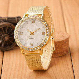 23cm-Long-Ladies-039-Waterproof-Crystal-Roman-Numerals-Gold-Mesh-Band-Wrist-Watch