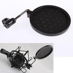 mic microphone wind screen mask gooseneck shied pop filter for shock mount mike ebay. Black Bedroom Furniture Sets. Home Design Ideas