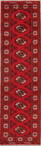 3-039-x9-039-RED-Geometric-Bokhara-Runner-Rug-Wool-Hand-Knotted-Oriental-Hallway-Carpet