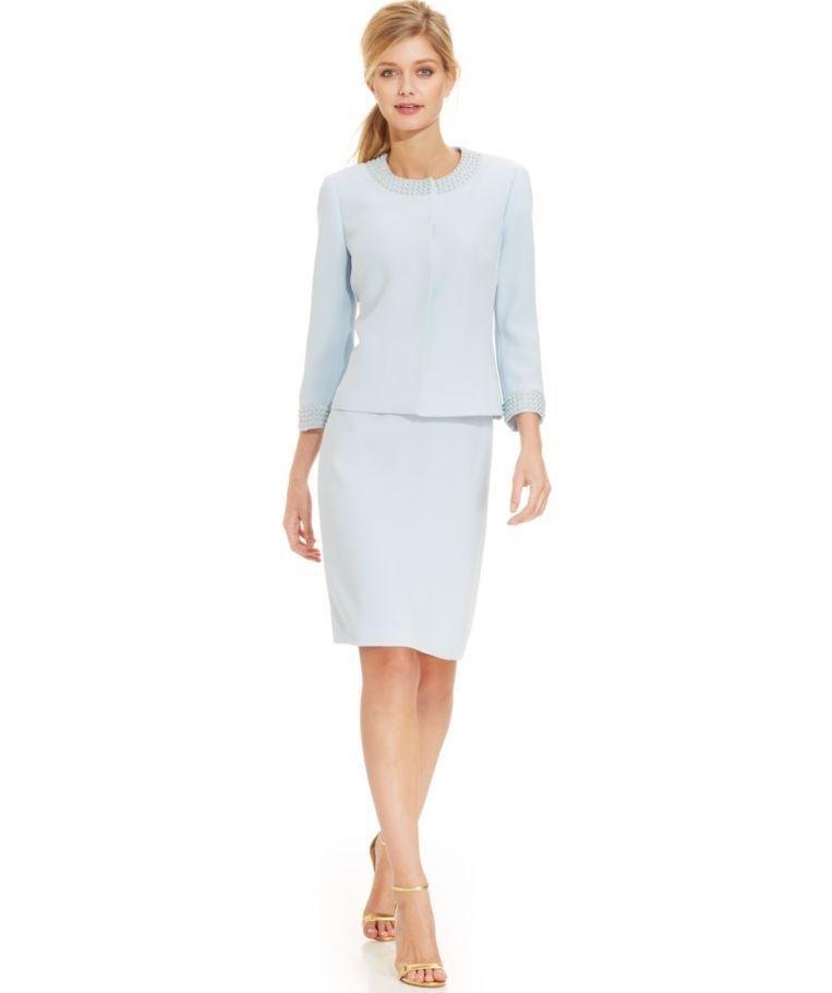 NWT Tahari ASL Pearl-Trim Snap-Front Skirt Suit, Size 0P