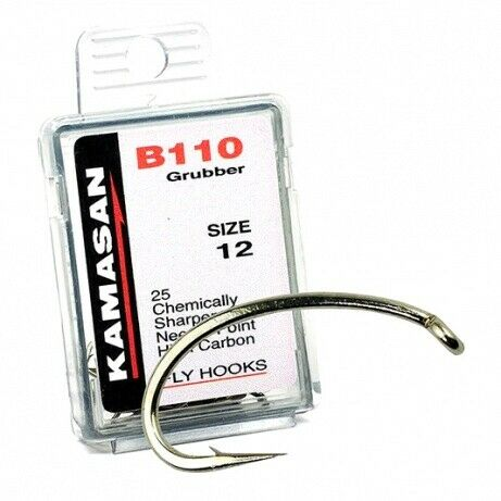 Kamasan B110 Grubber Trout Fly Tying Hooks For Buzzer Nymph Fly Tying Free P/&P
