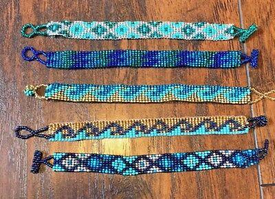 Handmade Seed Bead Bracelet Aztec Southwestern Hippie Waves Surfer Blue Lot Of 5 Ebay