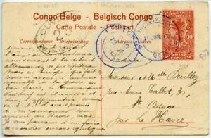 TANGANYIKA-1917-Belgian-Forces-10c-postal-card-pmk-FPO-No-6-then-KIGOMA-censor