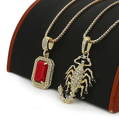 "14k Gold Plated High Fashion 2 Pcs Scorpion Cz /& Red Ruby 30/"" /& 24/"" Box Chain"