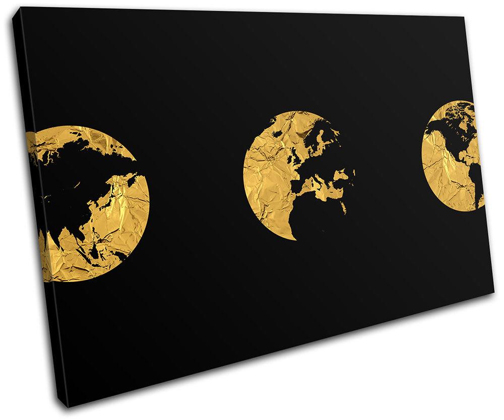 oro Globe Modern Atlas Office Office Office Maps Flags SINGLE TELA parete arte foto stampa c55117