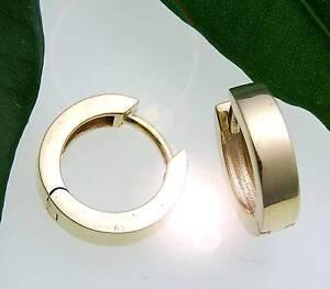 Damen-Ohrringe-Klapp-Creolen-Gold-333-Glanz-eckig-13-mm-Gelbgold-Qualitaet