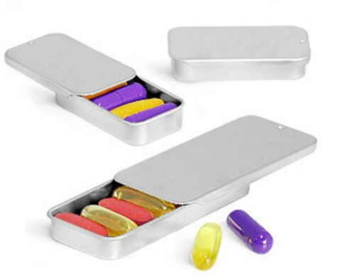 Crafts Geocache Storage By MagnaKoys® Silver Metal Slider Top Tin Containers