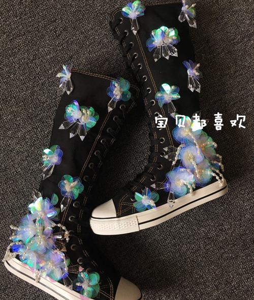 Mujeres Lentejuelas Floral Con Cuentas Pedrería Lona Rodilla Alto Bota Bota Bota Zapatos Con Cordones Nuevo  mas preferencial