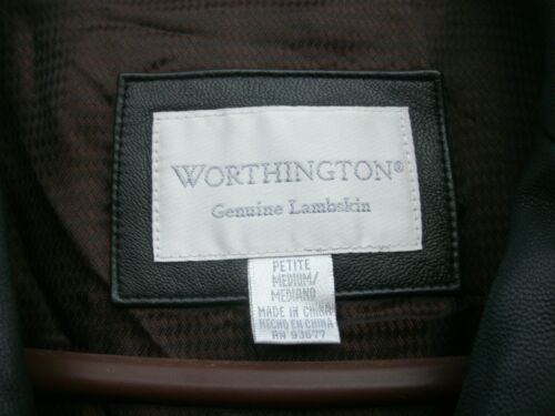 Button pelle Up Lambskin donna Worthington giacca Med Cappotto nera da in Petite HWqFtwvR