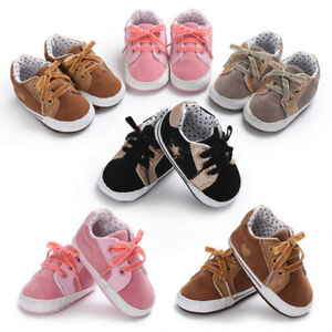 Baby Boys Girls Shoes Sneakers Crib Lace Up Sports Kids First Walker ... aceb6389ee6e