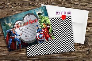 Personalised Superhero Birthday Party  invitations x 10