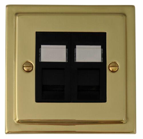 G/&H TB63B Trimline Plate Polished Brass 2 Gang Master BT Telephone Socket
