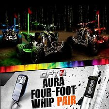 AURA 4ft Multi-Color LED Whip PAIR Flag Antenna Offroad 4x4 ATV Side x Sandrail