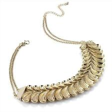 "16"" long BoHo style antique- gold tone collar / bib style chain necklace"