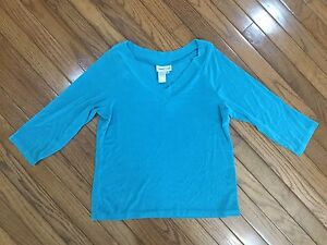 Coldwater-Creek-Women-039-s-Teal-Top-Blouse-V-Neck-3-4-Sleeve-Size-M