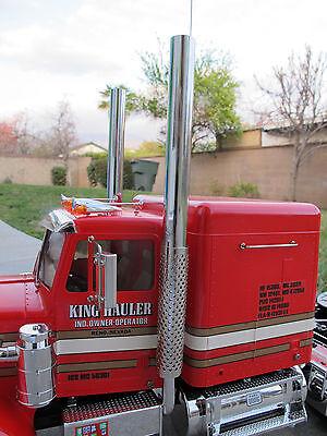 """New Pair 1/2"""" Aluminum Exhaust Straight Pipe 1/14 Tamiya King Hauler Semi Truck"""