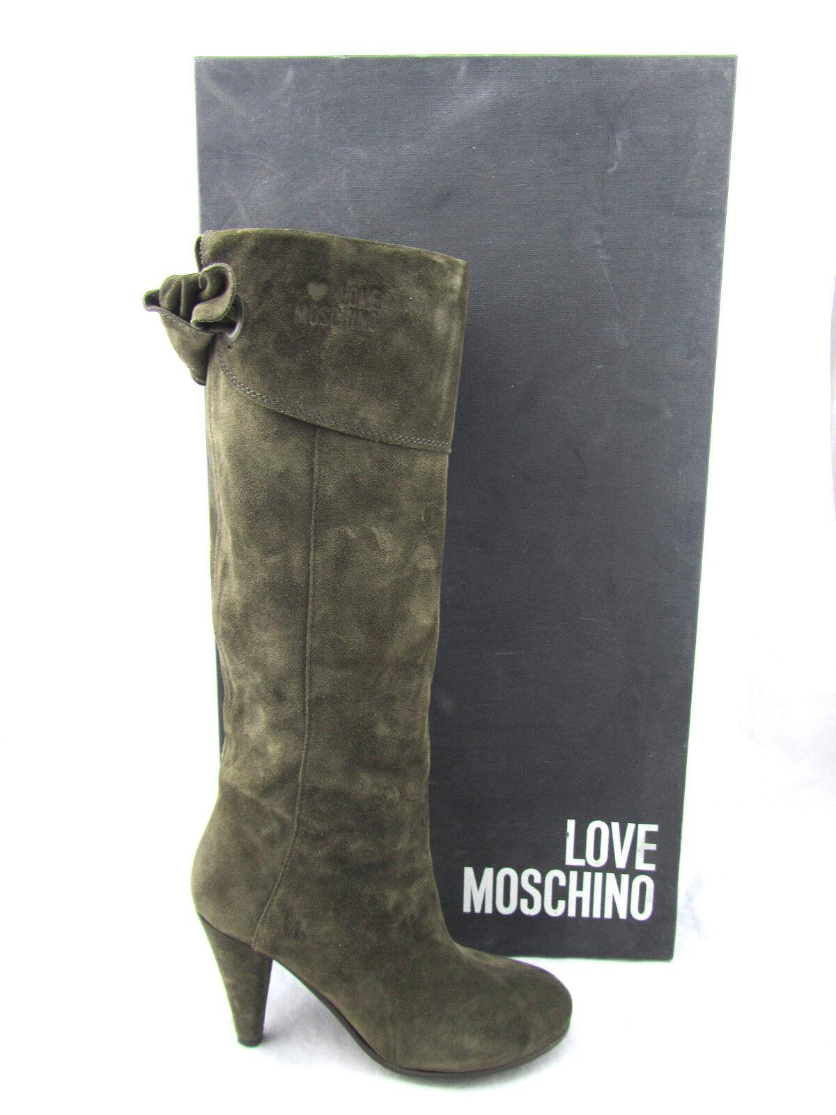 Love Moschino Fiocco marrón barro Gamuza Arco Cuero Arco Gamuza Botas hasta la rodilla Italia 6.5 69c7dd