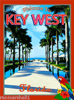 Florida Keys Macaw Parrot Birds United States Travel Advertisement Poster