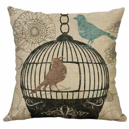 Home Decor Cotton Linen Home Throw Sofa Cover Birdcage Case Cushion Pillow 18/'/'
