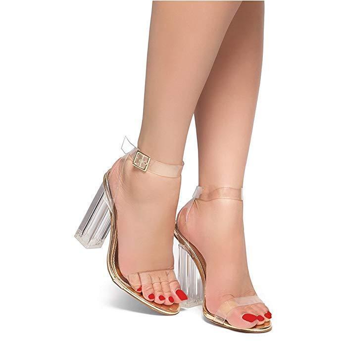 NEW Women Sandals Transparent PVC Chunky Heel Sansals Ankle Strap shoes Woman