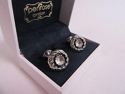 Penrose of London Designer Kronos B Gold Round Swirl Cufflinks RRP £120 #CL6