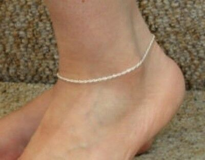 .925 Sterling Silver Buy Now Anklet tp Rope Chain Made In Italy