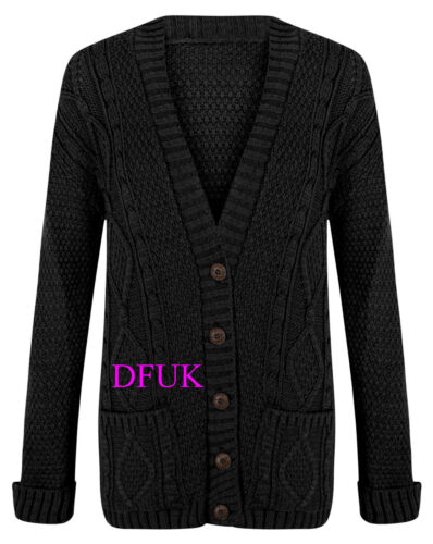 Damen Neu Grob Gestrickt Boyfriend Winter Pullover Strickjacke Größe 8-22