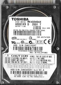 "Hard Drive Toshiba MK4026GAX 40 GB,Internal,5400 RPM,2.5/"" HDD2193"
