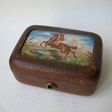 COFFRET ANCIEN BOITE CUIR EQUITATION PORCELAINE PEINTE FIN XIXè ANTIQUE BOX 19 C