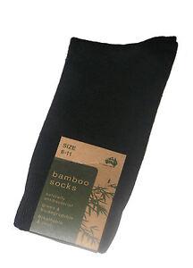 3 PAIRS AUSTRALIAN MADE MENS SZ 6-11 BLACK BAMBOO DRESS SOCKS