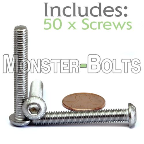 Qty 50 A2 Stainless Steel BUTTON HEAD Screws ISO 7380 M6 6mm x 1.00 x 40mm