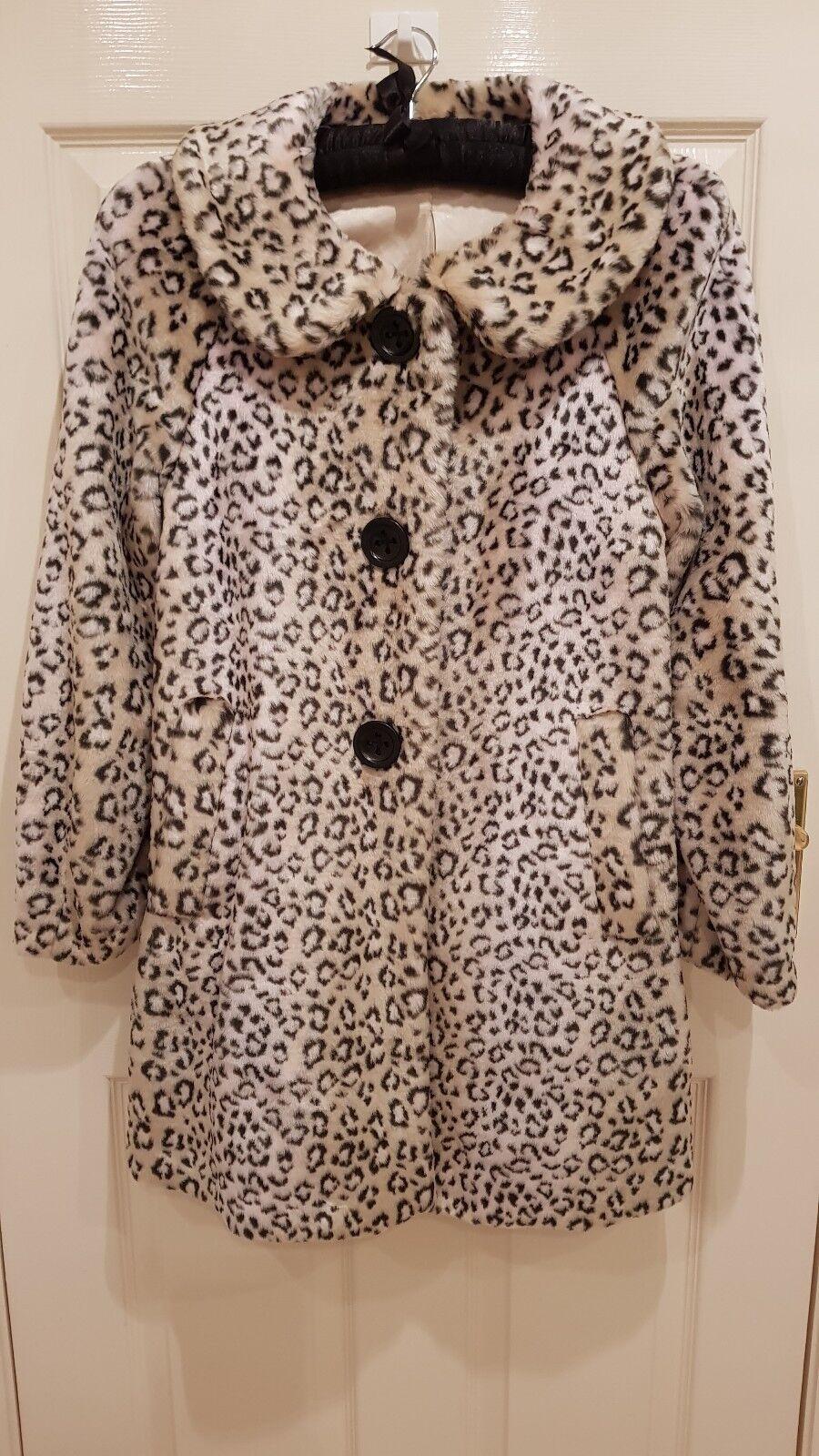 Jesire. Leopard Print fur Coat. Size 8