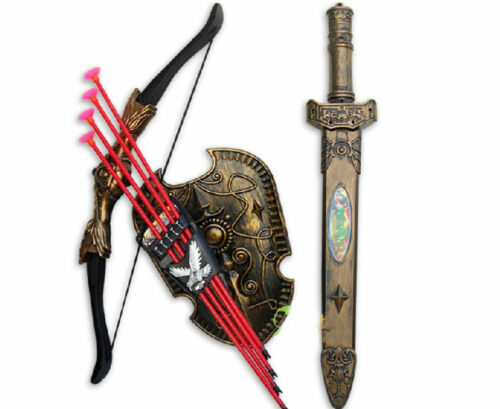 Plastic Shield Double-edged Sword Model Bow and Arrow Set Toy For Collection