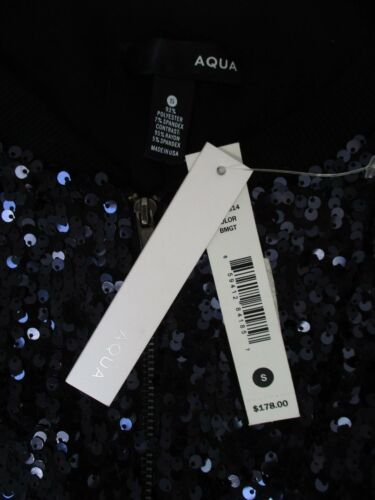 Jacket Nwt And Black Sleeve Long Blazer Size S Sequin Aqua Blue Dark cAWcTU