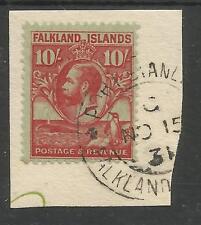 FALKLAND IS SG125 THE GV 1929-37   10/- CAR/EMERALD FINE USED ON PIECE C.£275+
