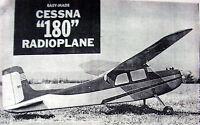 Vintage Cessna 180 41 Span Rc Hobby Helpers Model Airplane Plan + Nice Article