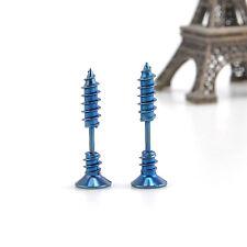 2 Pcs Women Men Blue Chic Punk Stainless Steel Screw Ear Studs Earrings RP133