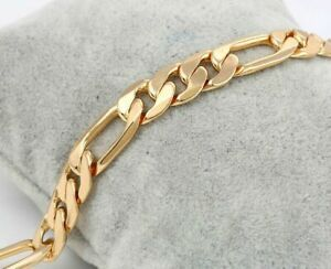 9ct-9K-Yellow-034-Gold-Filled-034-Curb-Link-Mens-Ladies-Bracelet-9-034-Width-8mm-Gift