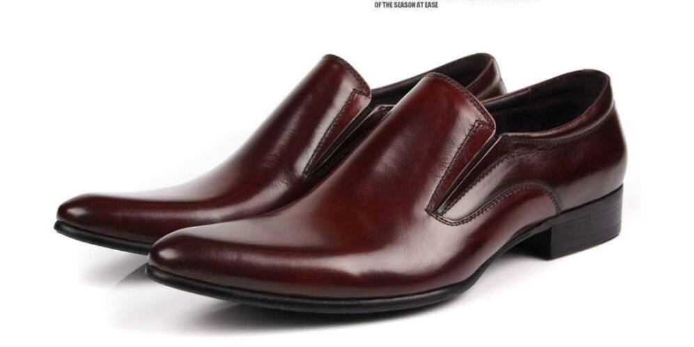 Men Genuine Burgundy Leather Loafer Slip On Formal Formal Formal Dress shoes Oxford Black shoes abfefc