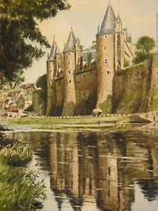 Eau-forte en couleur Château Signée Yvon en bas à droite Guérande ?