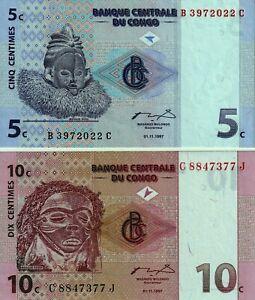 Vintage Group 2 Different Choice UNC Banknotes Congo 5 10 Centime  Pick 81 82