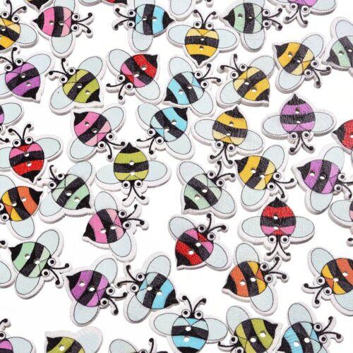 19*17mm Bee bois bouton 50Pcs Mixed Color Coudre 2 Trous Artisanat Accessoires