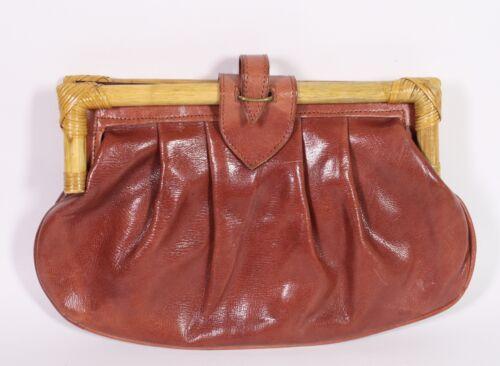7b Clutch Handvat Bag Leder Bamboe Boho Bruin Dames Vintage 70's dBQCWrxoe